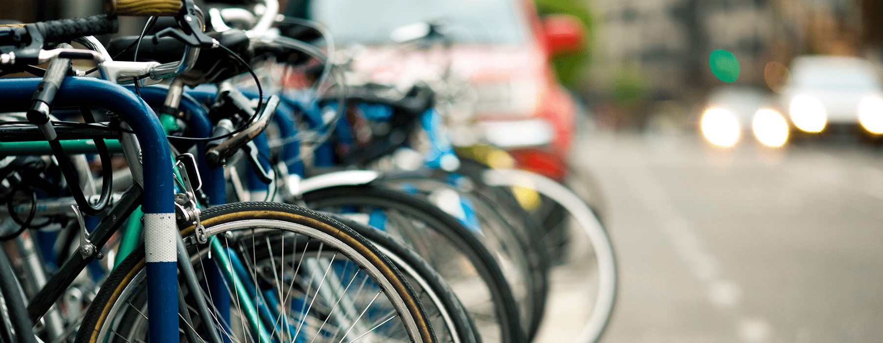 lifestyle image of a row of bicycles